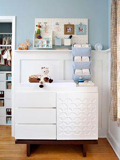 nursery organization with pegboard idea