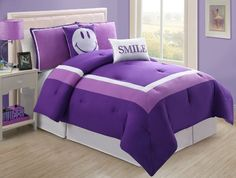 http://archinetix.com/4-pc-modern-purple-and-white-teen-girls-comforter-set-twin-size-bedding-bed-in-a-bag-by-plush-c-collection-p-6470.html Turquoise Blue, Kids Beds, Happy Face,  Comforter, Comforter Sets, Teen Girls Bedrooms, Beds Sets, Bedrooms Fun, Comforters Sets
