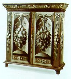 Grisaille was a popular way to decorate furniture in the late 18th and early 19th centuries, generally done to simulate carving.http://www.decorartsnow.com/2010/02/17/february-15-2010-grisaille-what-is-it/