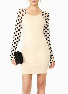 Attractive Beige Long Sleeve Dot Decorated Sheath Dress
