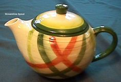 "Vernon Kilns (Vernonware) ""Tam O'shanter"", individual tea pot. I would LOVE to have about 12 of these! They are so cute. Each person could have a different tea, just for them."