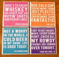 LAST CALL: Country Music Lyrics - Coasters. $45.00, via Etsy. I need these like WHOA