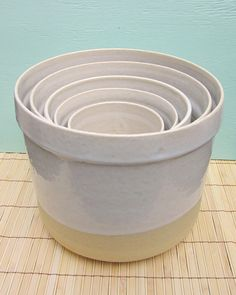 5 Large Ceramic Nesting Flower Pots or Herb Planters