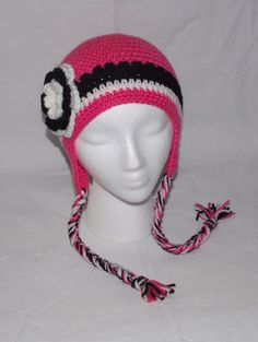 Hot Pink Black White Ear Flap Hat ... child by sweetpeacollections, $17.00