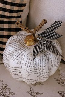 dollar store pumpkin and book pages - paint the pumpkins white, let dry, then Mod Podge strips. Use gold paint for the stem, Heat n' Bond for the gingham leaves and hot glue them to paper covered wires and use the wires to make tendrils.