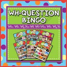 "WH Question Bingo from TheSpeechstress on TeachersNotebook.com -  (54 pages)  - Speech therapy Bingo game that targets answering ""WH"" questions."