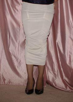 Visible Garter Bumps Under Long White Half Slip Sheer Stockings and Black High