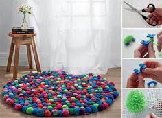 fun craft, pompom rug, pom poms, crafti thing, craft idea, diy project, kid stuff, rugs, kid room