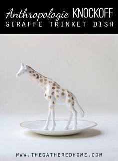 anthropologie knock off giraffe trinket dish in gold and white