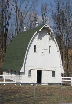 White Barn Green Roof