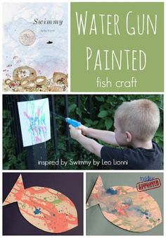 Toddler Approved!: Water Gun Painted Fish Craft inspired by Swimming.  Book inspired fun for Water Week at the Virtual Book Club Summer Camp
