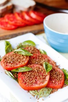 Tomato Salad Recipe -- ripe and juicy fresh tomatoes, fresh breadcrumbs toasted with olive oil and a hint of garlic, and a sprinkling of kosher salt and pepper are all you need for this simple tomato salad recipe! #Udis #AncientGrains