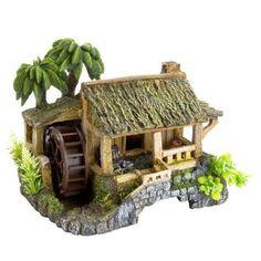 Amazon.com: Top Fin Cocotree & Wooden House Bubbler Aquarium Ornament: Pet Supplies