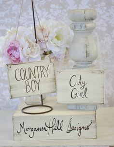 They got it the wrong way... 'city boy, country girl'.   Wouldn't these be cute for you and Michael?   Bride and Groom Chair Signs Rustic Chic Wedding by braggingbags, $34.99