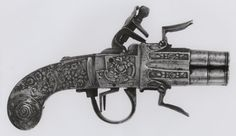 Belgian, Liège, Four-Barrel Flintlock Pocket Pistol