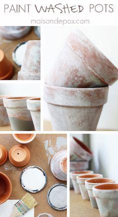 age patina, paint wash, terracotta pots