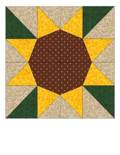 sunflower quilt block ... This block divided into four tiles (all the same but rotated to make the flower)  .... probably could be done in paper and smaller with a diamond punch and a square punch with the same length sides ...