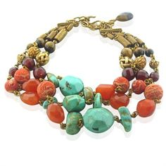 Stephen Dweck Turquoise Coral Tiger Eye Multi Strand Necklace