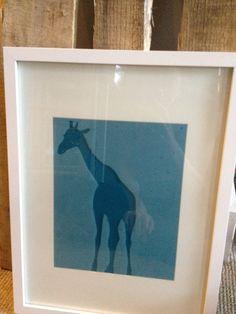 Framed Frosted Glass Giraffe Art by LuluBelleDesign1182 on Etsy, $55.00