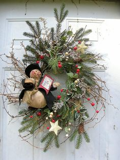 "Prim Christmas ""Welcome"" Home Wreath...with grunged snowman."
