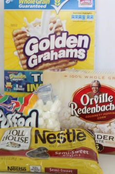 S'mores Popcorn:  1/2 box of Golden Graham cereal  1/2 bag of miniature marshmallows  1 & 1/2 bags of Tender White Orville Redenbacher Popcorn  a whole bag (of course ;) of chocolate chips - melted