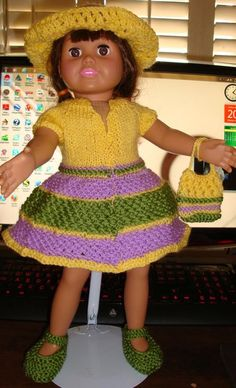 "Ladyfingers - AG doll - Open-Front Dress with Fancy ""Scallop"" Skirt - Hat & Purse"
