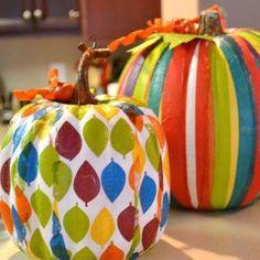 Kid-friendly no carve pumpkin decorating idea: Decoupage with colored tissue paper