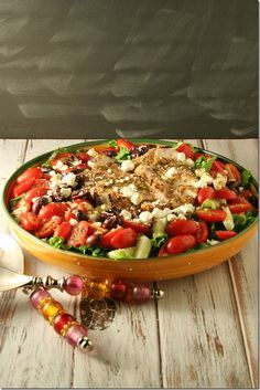 This Greek Grilled Chicken Salad is packed with huge flavor and tastes ...