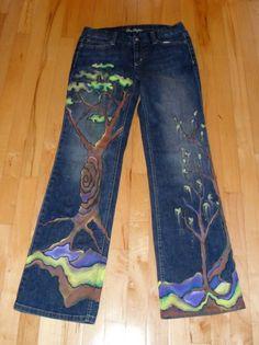 Custom Painted Tree Jeans