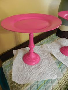 My DIY cake stands - Tutorial: candle stick, plate, E6000 glue and spray paint.