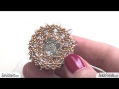 Beaded pendant: beaded bezel Swarovski crystal, made using Seed beads, Delicas and Daggers - YouTube