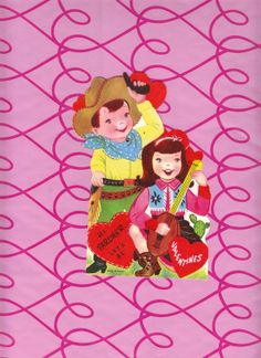 Vintage 1950s Large Die Cut Mechanical Valentine Cowboy & Cowgirl