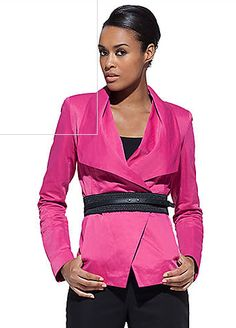 great fuschia jacket just add black pants. easy wardrobe uniform is work around black pants or dressed up jeans