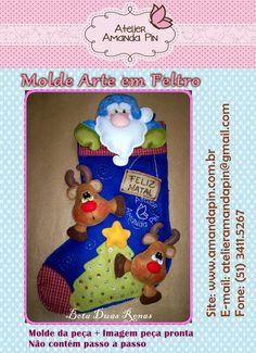 MOLDE Arte em Feltro Pode ser adaptado perfeitamente para trabalhos com E.V.A. Bota mede aproximadamente 40cm. Entre no link abaixo e veja a adaptação para o E.V.A: http://amandapin.com.br/2011/10/bota-natal-refeita/ R$15,00
