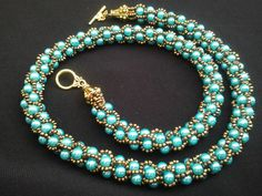 "Handmade Turkish Crochet Beads Brown Turquoise Necklace 19 2"" 49cm 