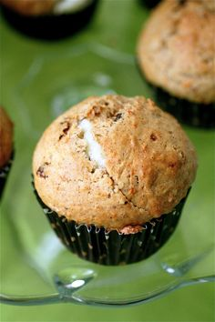 Carrot cake muffins filled with cream cheese...