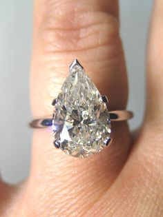 Reserved...3.01ct Classic PEAR Cut Diamond Engagement Ring in 14K White Gold. $13,975.00, via Etsy.
