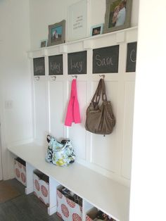 Cute mudroom idea that does not take up a ton of space...would look great with Thirty-One Your Way Cube in Woodblock floral:-)