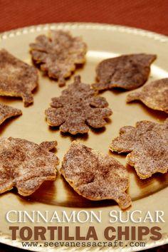 Cinnamon Sugar Leaf Tortilla Chips - Kids Can Help!