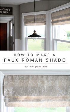 How to Make a Faux Roman Shade by LoveGrowsWild.com #diy #romanshade #curtain