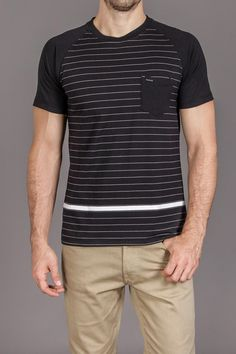 Black and white stripe tee dig it