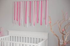 DIY Gray and Pink Ribbon Wall Decor - #nursery #nurserydecor