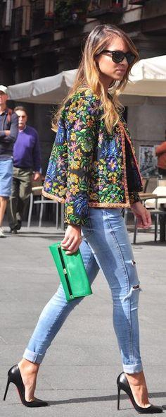 Tapestry jacket and denim feminine fashion, blazer, jeans style, flower prints, casual styles, street styles, jean jackets, flower power, street style fashion