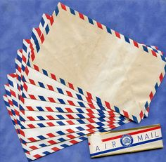 Vintage AIRMAIL Envelopes Lot of 10 1950s Made in Japan Aged  MORE AVAILABLE. $7.50, via Etsy.