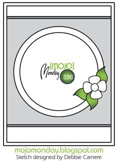 Mojo Monday #336 Card Sketch Designed by Debbie Carriere #mojomonday #vervestamps #cardsketches