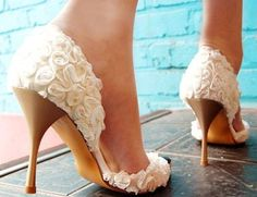 Handmade covered  lace  wedding shoes  party shoes by Yanger218, $80.00