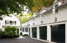 white houses, door design, black doors, dream, garag door