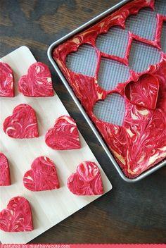 Heart-shaped red velvet cheesecake marble brownies