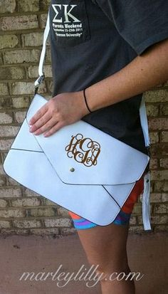 Monogrammed Cross Body Clutch in White