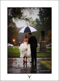 Wedding and rain: Duke Chapel, Durham, NC. #umbrella, #rain, #wedding
